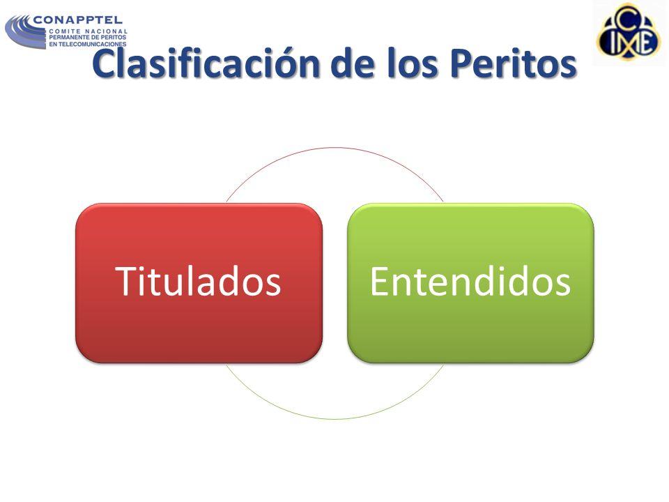 Clasificación de los Peritos TituladosEntendidos