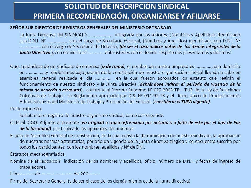 SEÑOR SUB DIRECTOR DE REGISTROS GENERALES DEL MINISTERIO DE TRABAJO La Junta Directiva del SINDICATO...................... integrada por los señores: