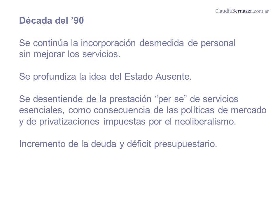Década del 90 Se continúa la incorporación desmedida de personal sin mejorar los servicios.