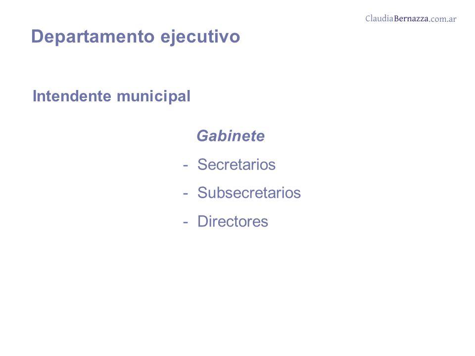 Departamento ejecutivo Intendente municipal Gabinete - Secretarios - Subsecretarios - Directores