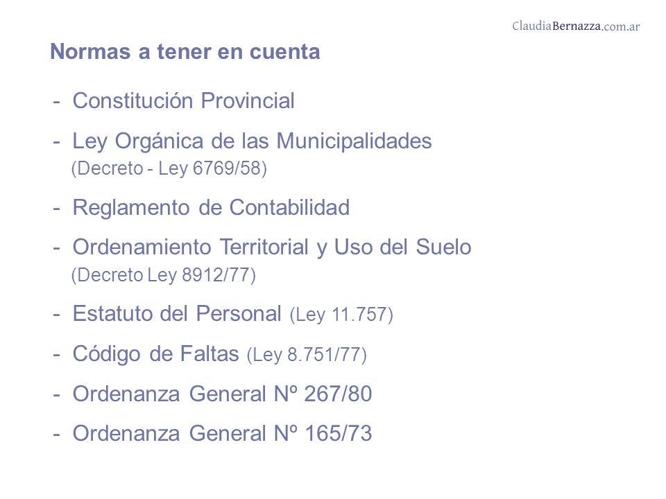 Normas a tener en cuenta - Constitución Provincial - Ley Orgánica de las Municipalidades (Decreto - Ley 6769/58) - Reglamento de Contabilidad - Ordenamiento Territorial y Uso del Suelo (Decreto Ley 8912/77) - Estatuto del Personal (Ley 11.757) - Código de Faltas (Ley 8.751/77) - Ordenanza General Nº 267/80 - Ordenanza General Nº 165/73