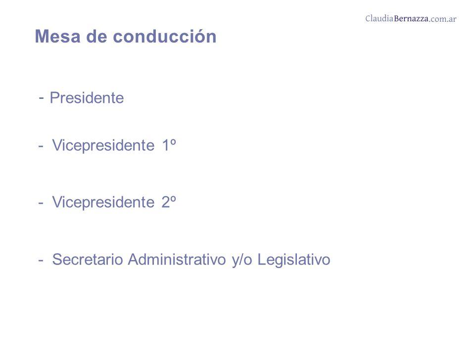 Mesa de conducción - Presidente - Vicepresidente 1º - Vicepresidente 2º - Secretario Administrativo y/o Legislativo