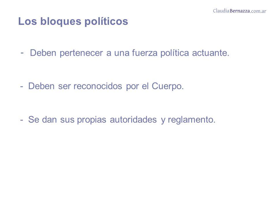 Los bloques políticos - Deben pertenecer a una fuerza política actuante.