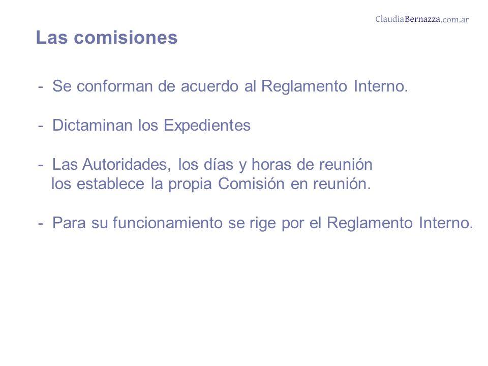 Las comisiones - Se conforman de acuerdo al Reglamento Interno.