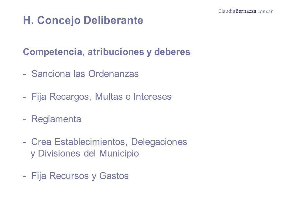 H. Concejo Deliberante Competencia, atribuciones y deberes - Sanciona las Ordenanzas - Fija Recargos, Multas e Intereses - Reglamenta - Crea Estableci