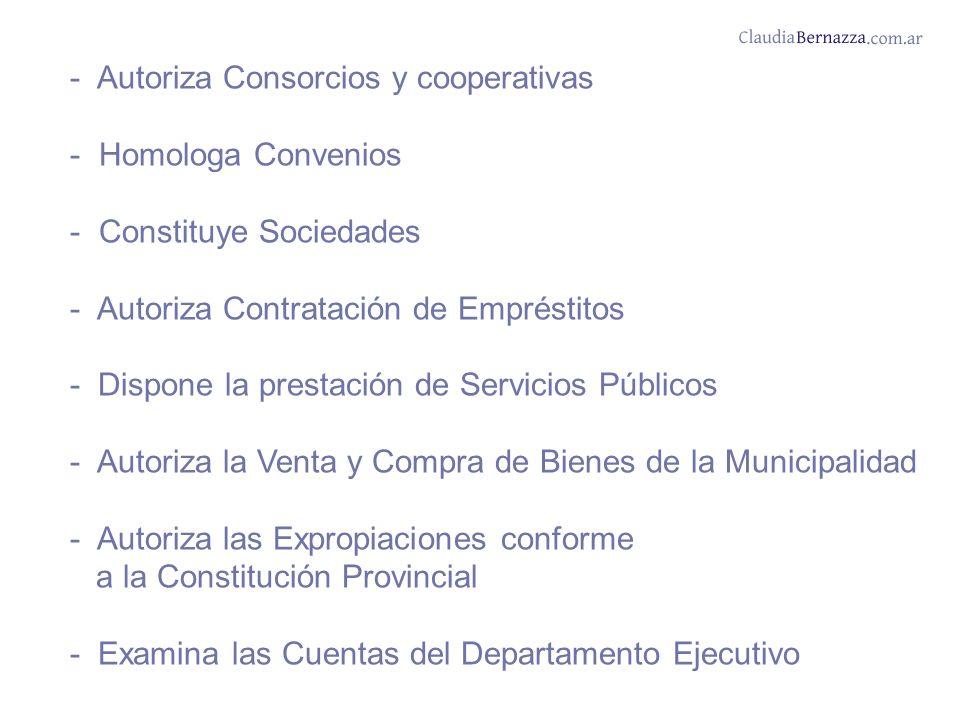 - Autoriza Consorcios y cooperativas - Homologa Convenios - Constituye Sociedades - Autoriza Contratación de Empréstitos - Dispone la prestación de Servicios Públicos - Autoriza la Venta y Compra de Bienes de la Municipalidad - Autoriza las Expropiaciones conforme a la Constitución Provincial - Examina las Cuentas del Departamento Ejecutivo