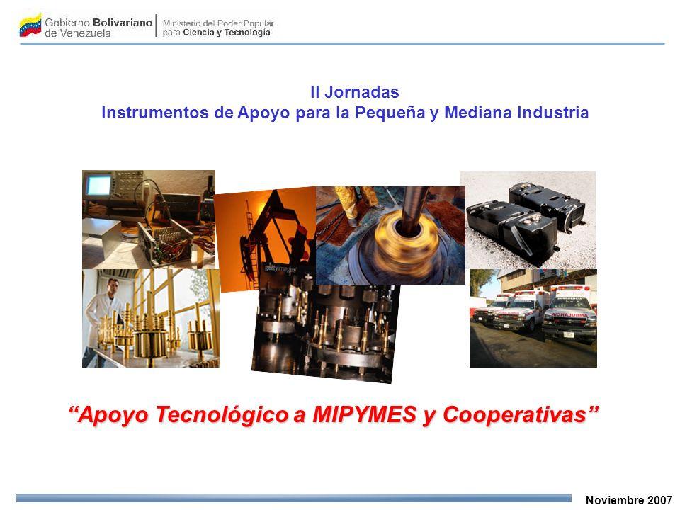 Noviembre 2007 Apoyo Tecnológico a MIPYMES y Cooperativas II Jornadas Instrumentos de Apoyo para la Pequeña y Mediana Industria
