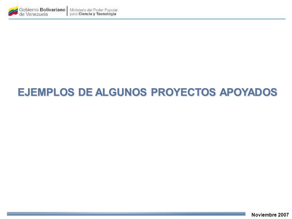 Noviembre 2007 EJEMPLOS DE ALGUNOS PROYECTOS APOYADOS