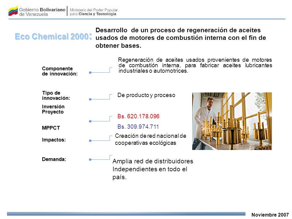 Noviembre 2007 Desarrollo de un proceso de regeneración de aceites usados de motores de combustión interna con el fin de obtener bases. Componente de