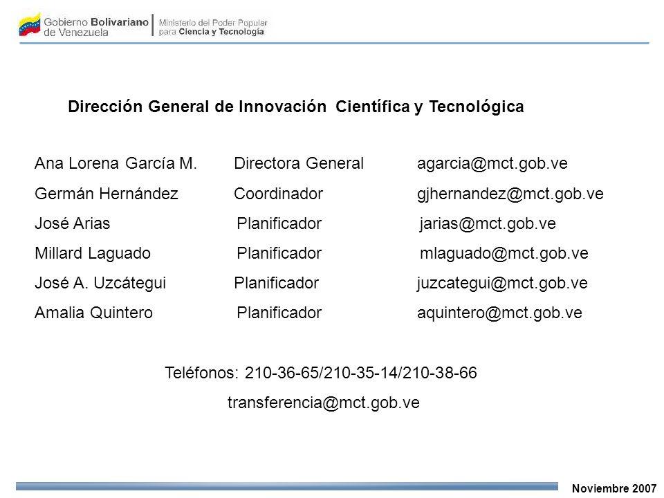 Noviembre 2007 Dirección General de Innovación Científica y Tecnológica Ana Lorena García M.Directora General agarcia@mct.gob.ve Germán HernándezCoord