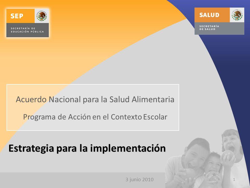 3 junio 2010 Estrategia para la implementación 1 Acuerdo Nacional para la Salud Alimentaria Programa de Acción en el Contexto Escolar
