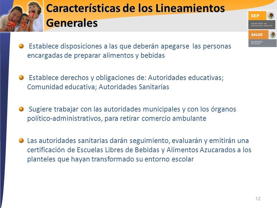 Características de los Lineamientos Generales 12 Establece disposiciones a las que deberán apegarse las personas encargadas de preparar alimentos y be