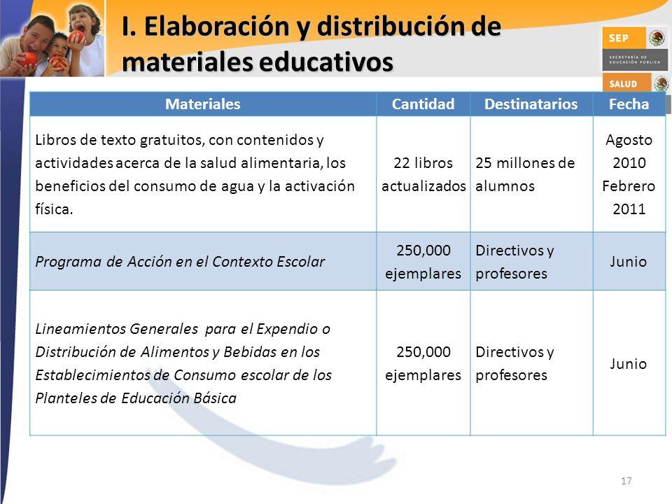 I. Elaboración y distribución de materiales educativos 17 MaterialesCantidadDestinatariosFecha Libros de texto gratuitos, con contenidos y actividades