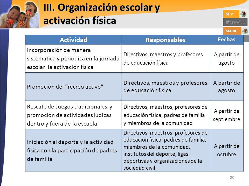 III. Organización escolar y activación física 20 ActividadResponsables Fechas Incorporación de manera sistemática y periódica en la jornada escolar la