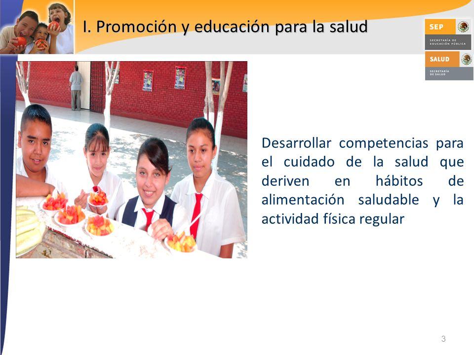I. Promoción y educación para la salud Desarrollar competencias para el cuidado de la salud que deriven en hábitos de alimentación saludable y la acti