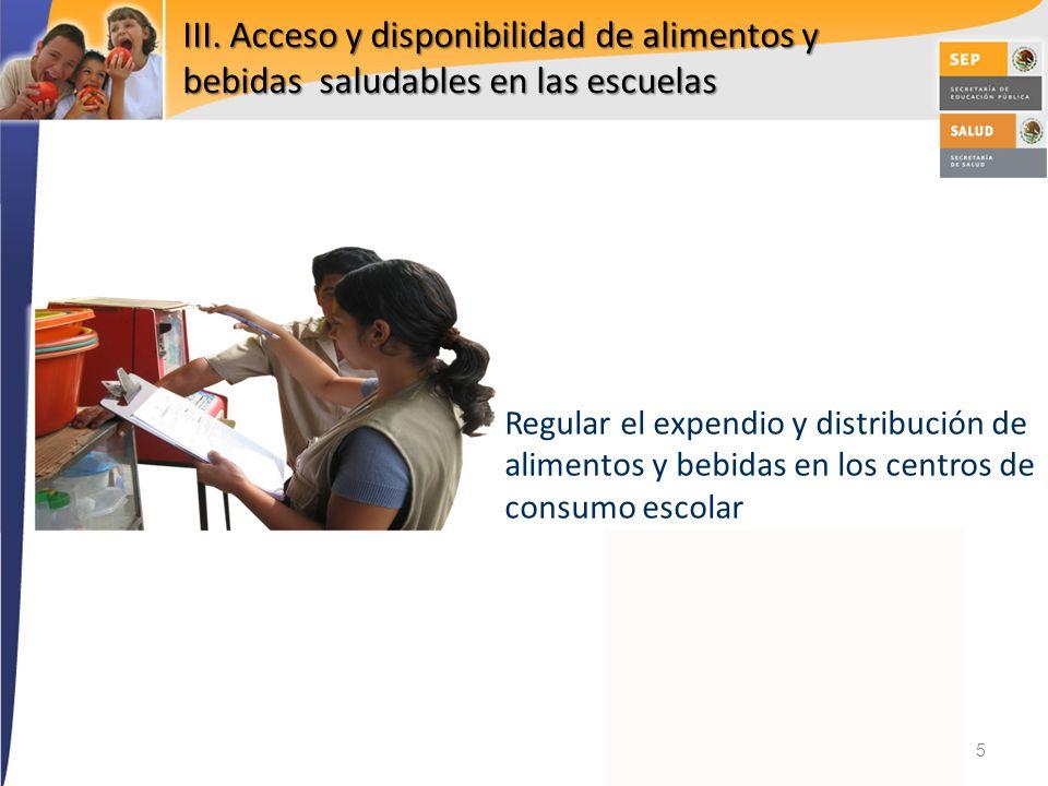 III. Acceso y disponibilidad de alimentos y bebidas saludables en las escuelas Regular el expendio y distribución de alimentos y bebidas en los centro