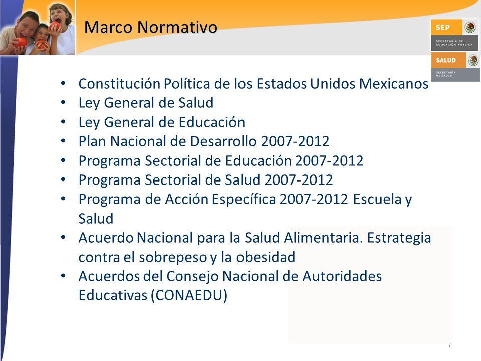 7 Marco Normativo Constitución Política de los Estados Unidos Mexicanos Ley General de Salud Ley General de Educación Plan Nacional de Desarrollo 2007
