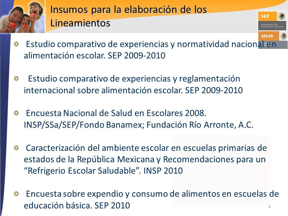 8 Insumos para la elaboración de los Lineamientos Estudio comparativo de experiencias y normatividad nacional en alimentación escolar. SEP 2009-2010 E