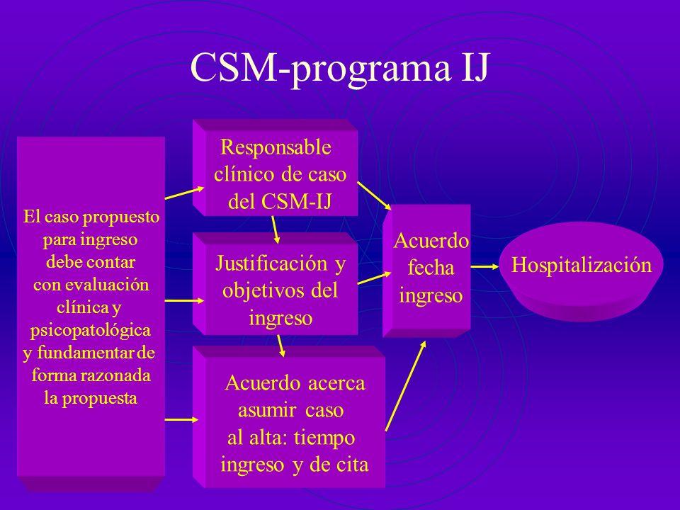Recorrido de la demanda CSM (Programa IJ) Urgencias Consultas Externas Otros (*Traslados *Jueces *Fiscales) Unidad Hospitalización Paidopsiquiátrica H