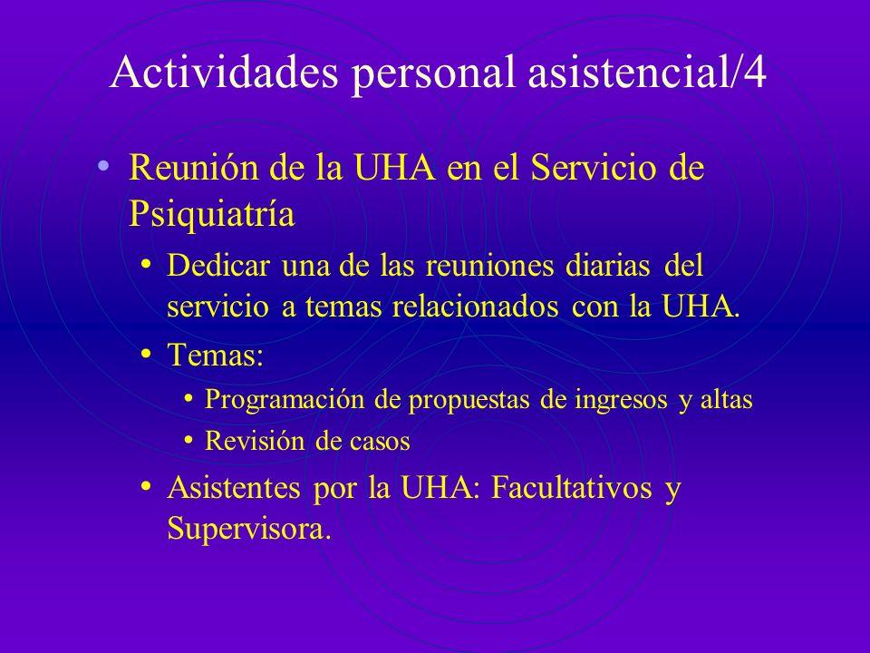 Actividades personal asistencial/3 Reunión con Servicios de Referencia: Semanal, Miércoles de 13.30 a 14.30h Temas: Programación de propuestas de ingr