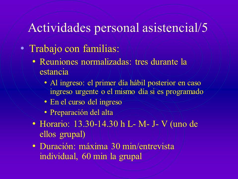 Actividades personal asistencial/4 Reunión de la UHA en el Servicio de Psiquiatría Dedicar una de las reuniones diarias del servicio a temas relaciona