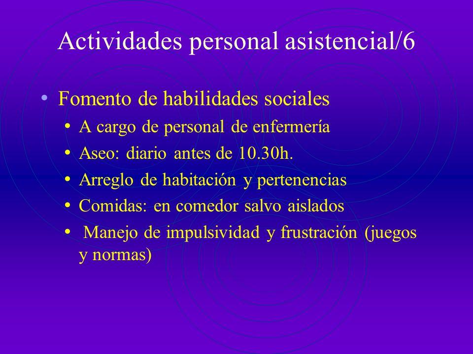 Actividades personal asistencial/5 Trabajo con familias: Reuniones normalizadas: tres durante la estancia Al ingreso: el primer día hábil posterior en