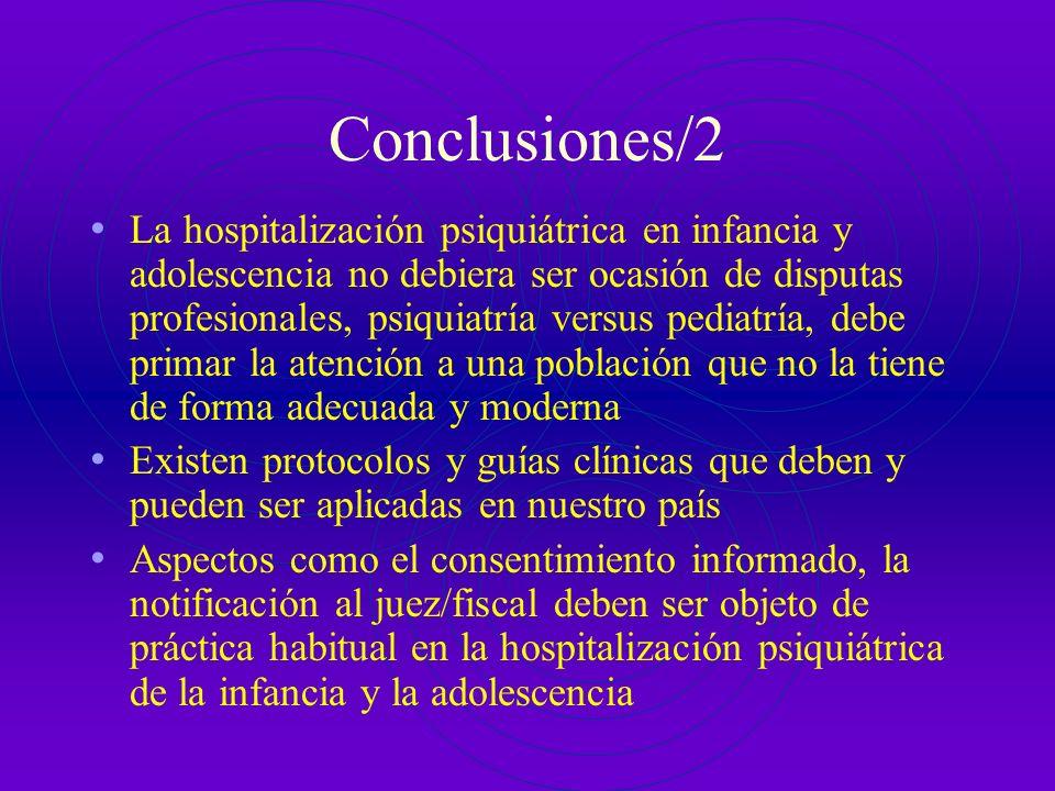 Conclusiones/1 La hospitalización psiquiátrica en infancia y adolescencia está recientemente iniciada El grado de incumplimiento legal, a diversos niv