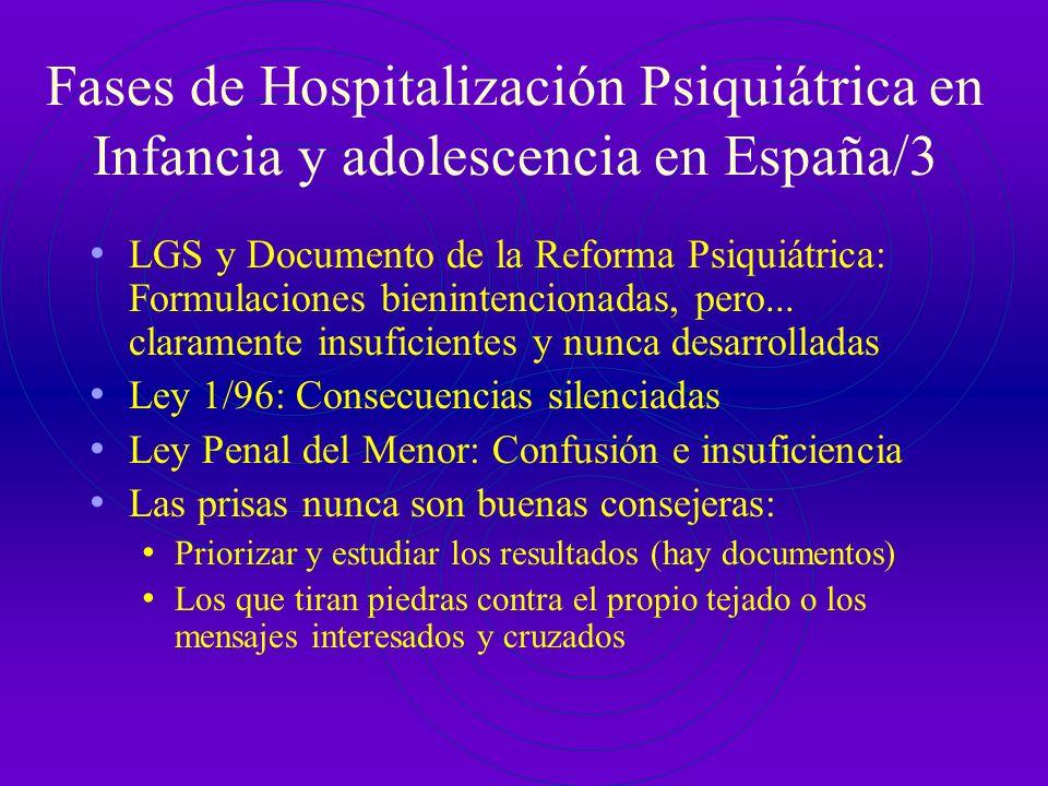 Fases de Hospitalización Psiquiátrica en Infancia y adolescencia en España/2 La buena intención no basta: Hospitales Psiquiátricos Infantiles (del tod