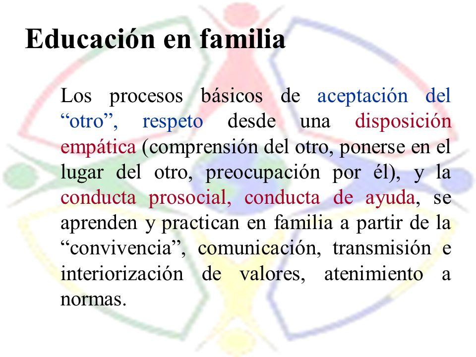 Educación en familia Los procesos básicos de aceptación del otro, respeto desde una disposición empática (comprensión del otro, ponerse en el lugar de