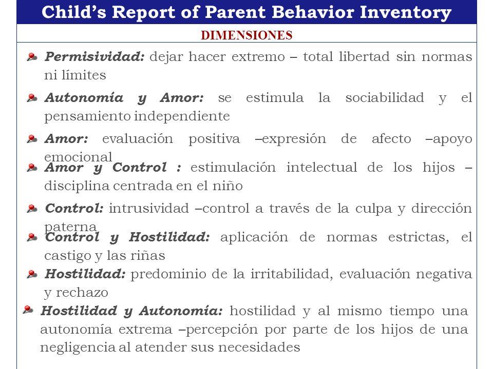 Childs Report of Parent Behavior Inventory DIMENSIONES Permisividad: dejar hacer extremo – total libertad sin normas ni límites Autonomía y Amor: se e