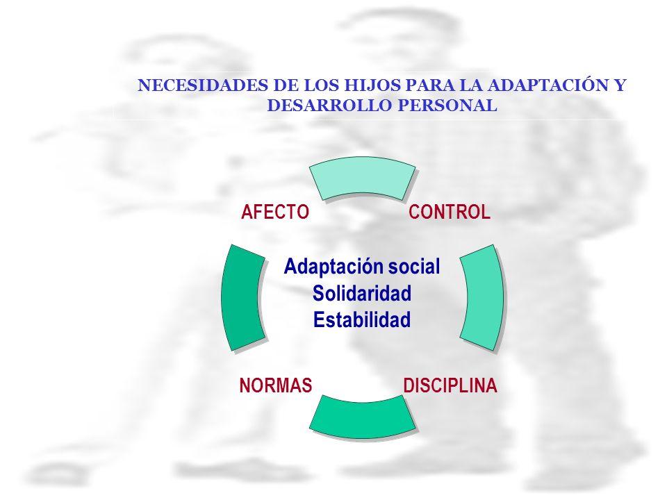 NECESIDADES DE LOS HIJOS PARA LA ADAPTACIÓN Y DESARROLLO PERSONAL Adaptación social Solidaridad Estabilidad