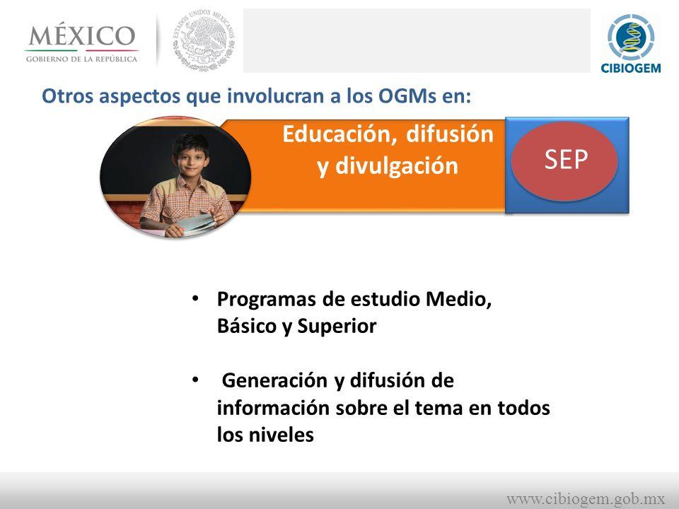 www.cibiogem.gob.mx Educación, difusión y divulgación Otros aspectos que involucran a los OGMs en: SHCP CONACYT SEP Programas de estudio Medio, Básico y Superior Generación y difusión de información sobre el tema en todos los niveles