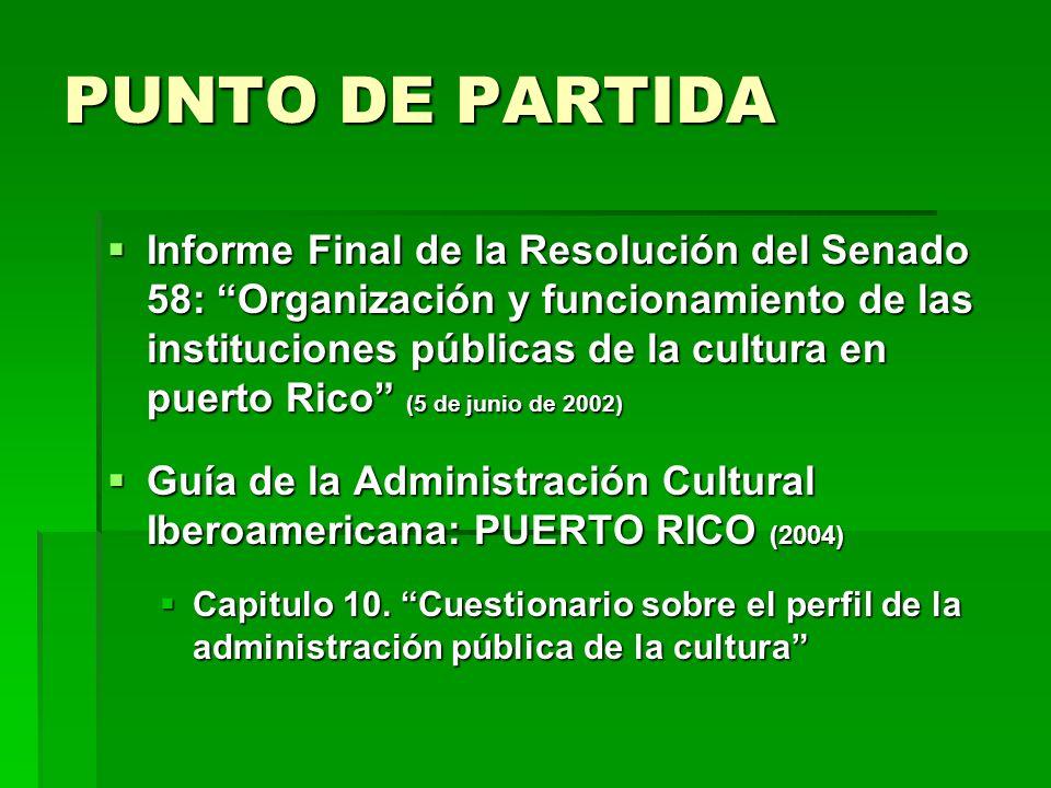 PUNTO DE PARTIDA Informe Final de la Resolución del Senado 58: Organización y funcionamiento de las instituciones públicas de la cultura en puerto Ric