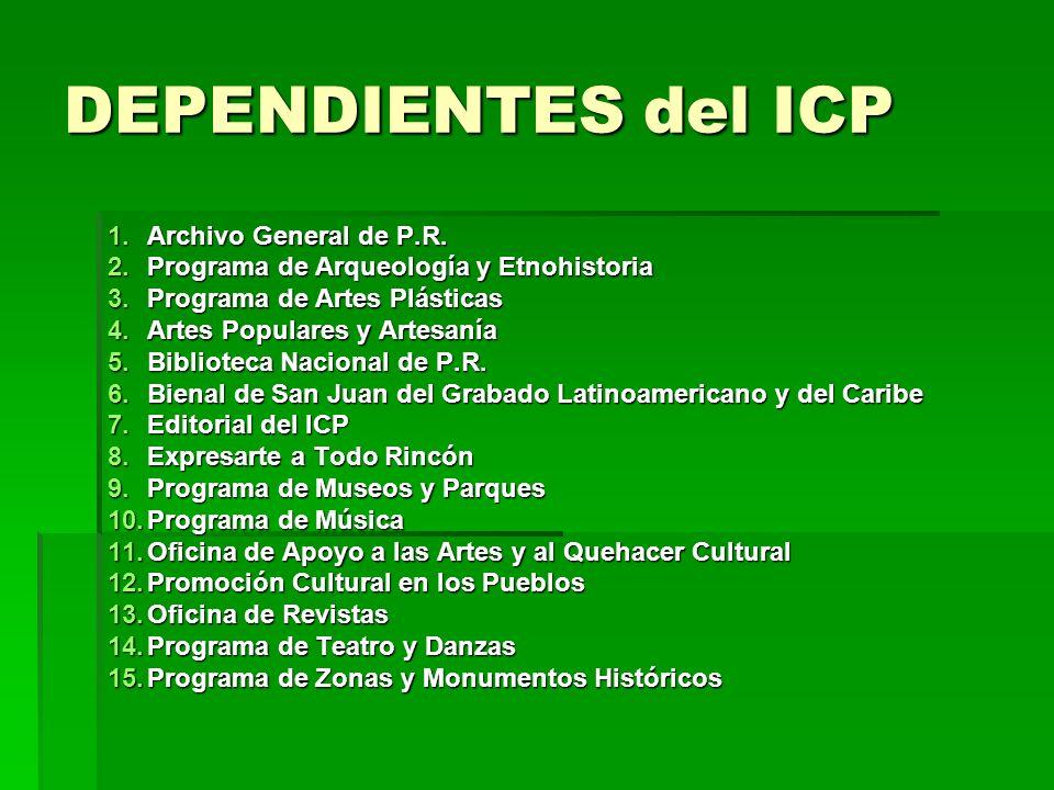 DEPENDIENTES del ICP 1.Archivo General de P.R. 2.Programa de Arqueología y Etnohistoria 3.Programa de Artes Plásticas 4.Artes Populares y Artesanía 5.