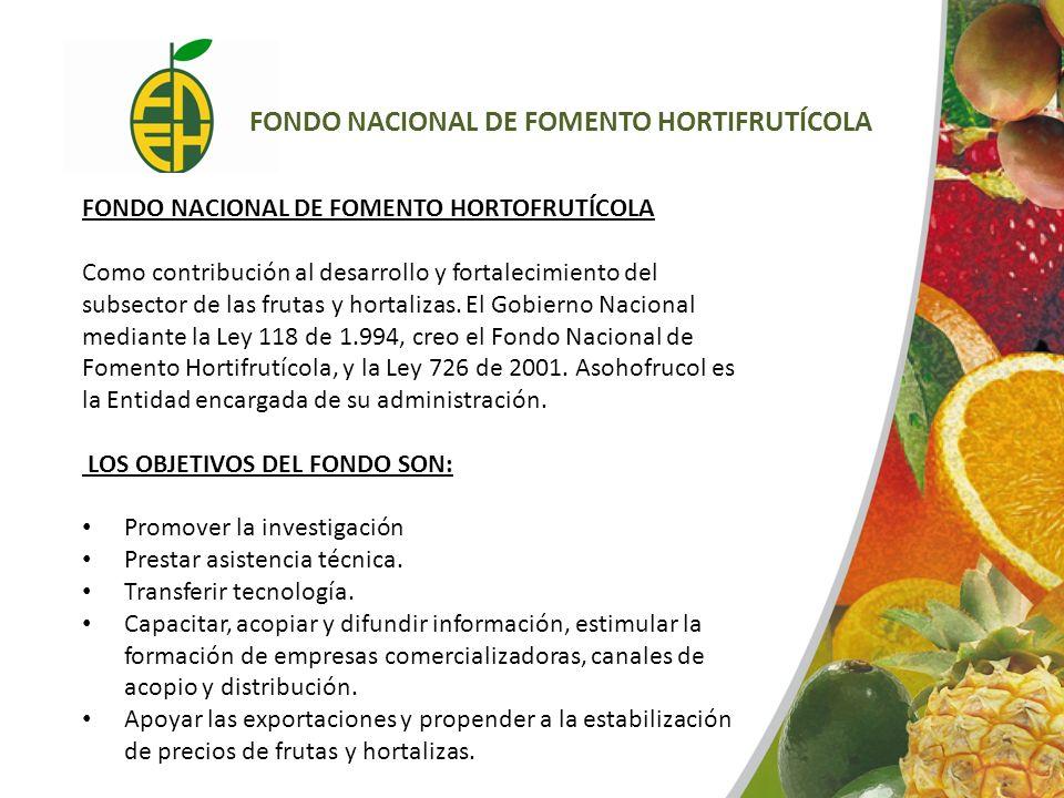FONDO NACIONAL DE FOMENTO HORTOFRUTÍCOLA Como contribución al desarrollo y fortalecimiento del subsector de las frutas y hortalizas. El Gobierno Nacio