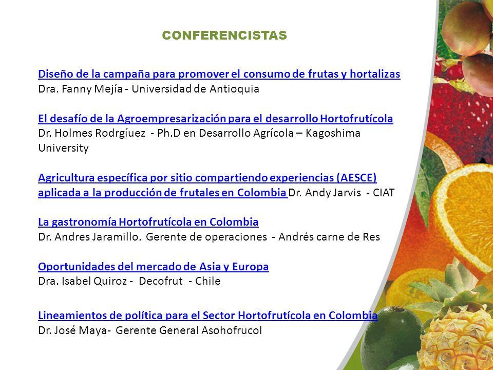 CONFERENCISTAS Diseño de la campaña para promover el consumo de frutas y hortalizas Diseño de la campaña para promover el consumo de frutas y hortaliz