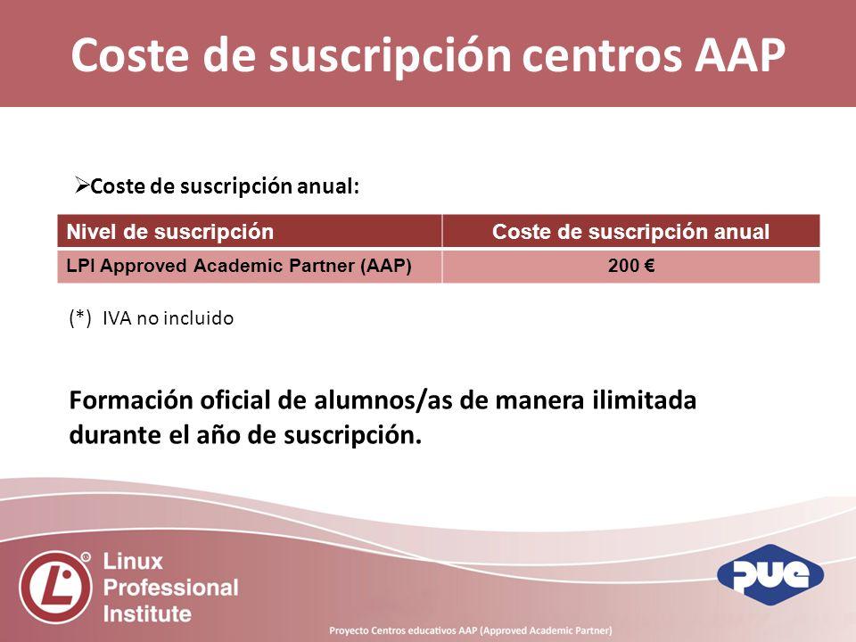 Coste de suscripción centros AAP Coste de suscripción anual: Nivel de suscripciónCoste de suscripción anual LPI Approved Academic Partner (AAP)200 (*) IVA no incluido Formación oficial de alumnos/as de manera ilimitada durante el año de suscripción.
