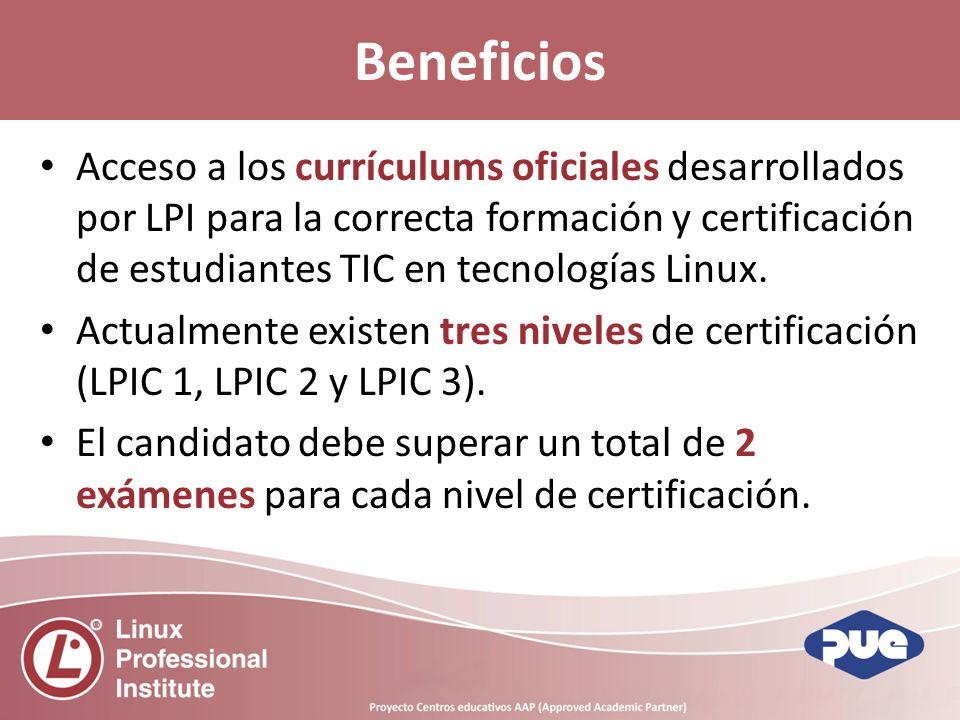 Acceso a los currículums oficiales desarrollados por LPI para la correcta formación y certificación de estudiantes TIC en tecnologías Linux.