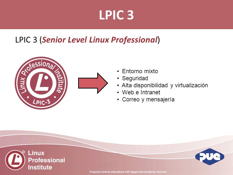 LPIC 3 (Senior Level Linux Professional) LPIC 3 Entorno mixto Seguridad Alta disponibilidad y virtualización Web e Intranet Correo y mensajería