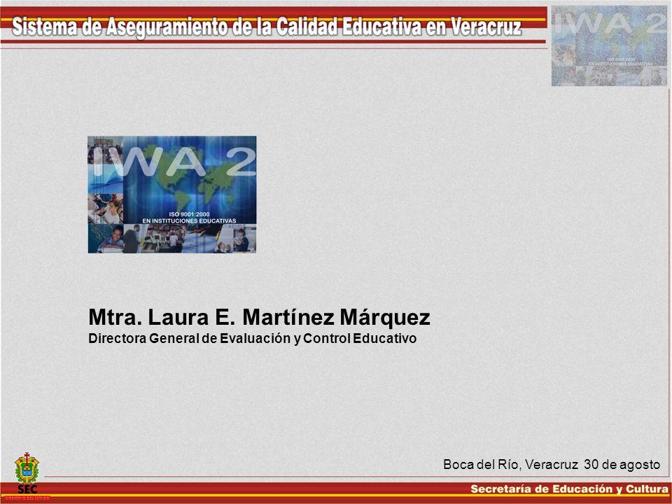 Boca del Río, Veracruz 30 de agosto Mtra. Laura E. Martínez Márquez Directora General de Evaluación y Control Educativo