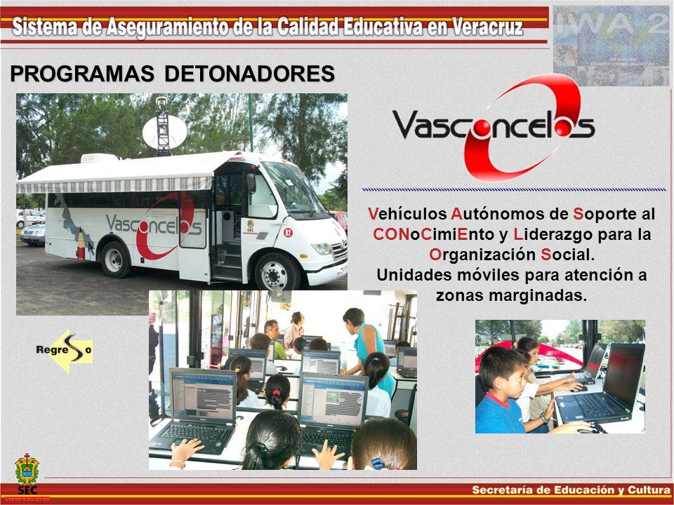 PROGRAMAS DETONADORES Vehículos Autónomos de Soporte al CONoCimiEnto y Liderazgo para la Organización Social. Unidades móviles para atención a zonas m