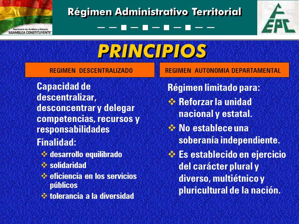 Régimen Administrativo Territorial PRINCIPIOS Capacidad de descentralizar, desconcentrar y delegar competencias, recursos y responsabilidades Finalida