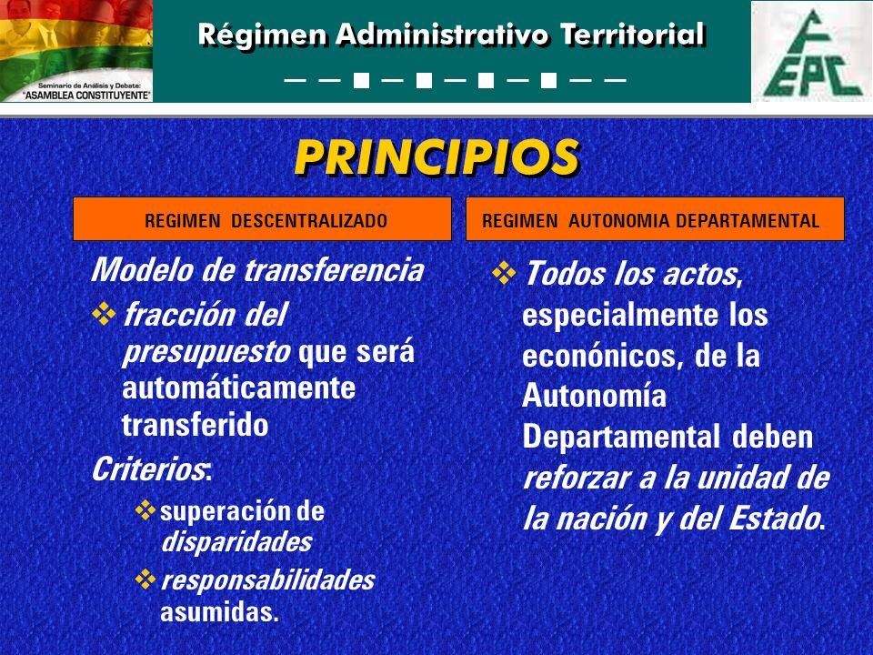 Régimen Administrativo Territorial PRINCIPIOS Modelo de transferencia fracción del presupuesto que será automáticamente transferido Criterios: superac