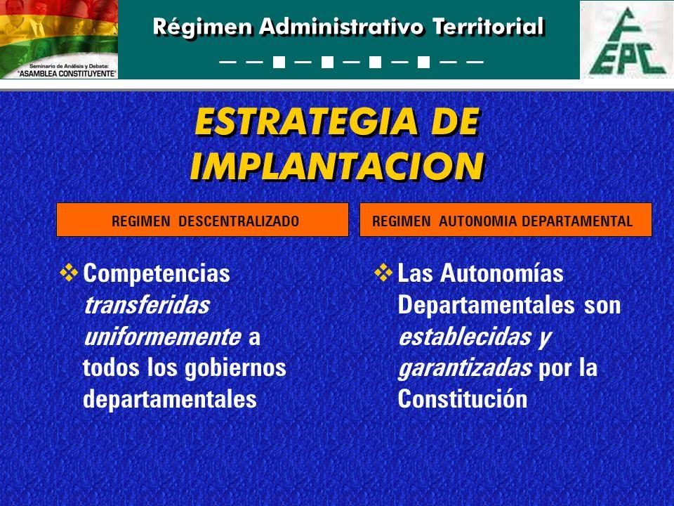 Régimen Administrativo Territorial ESTRATEGIA DE IMPLANTACION Competencias transferidas uniformemente a todos los gobiernos departamentales Las Autono