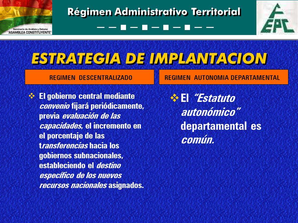 Régimen Administrativo Territorial ESTRATEGIA DE IMPLANTACION El gobierno central mediante convenio fijará periódicamente, previa evaluación de las ca