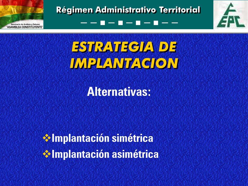 Régimen Administrativo Territorial ESTRATEGIA DE IMPLANTACION Alternativas: Implantación simétrica Implantación asimétrica