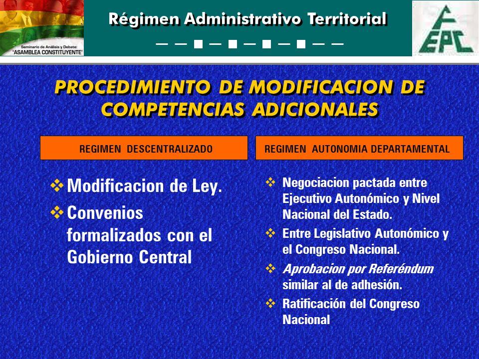 Régimen Administrativo Territorial PROCEDIMIENTO DE MODIFICACION DE COMPETENCIAS ADICIONALES Modificacion de Ley. Convenios formalizados con el Gobier