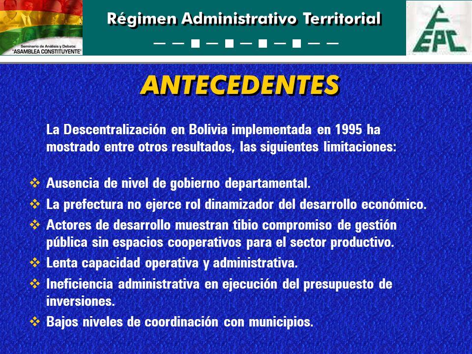 Régimen Administrativo Territorial ANTECEDENTES La Descentralización en Bolivia implementada en 1995 ha mostrado entre otros resultados, las siguiente