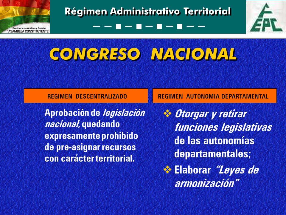 Régimen Administrativo Territorial CONGRESO NACIONAL Aprobación de legislación nacional, quedando expresamente prohibido de pre-asignar recursos con c