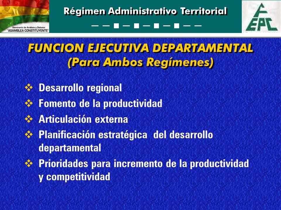 Régimen Administrativo Territorial FUNCION EJECUTIVA DEPARTAMENTAL (Para Ambos Regímenes) Desarrollo regional Fomento de la productividad Articulación